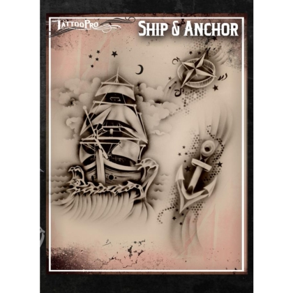 Pochoir Tattoo Pro - Stencils Ship & Anchor Bateau