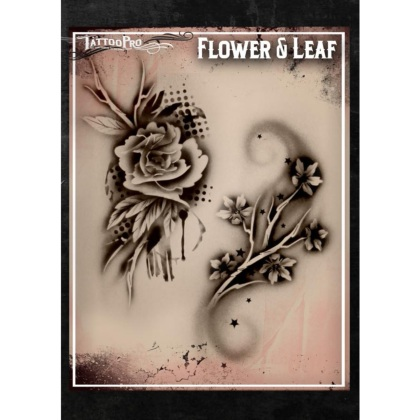 Pochoir Tattoo Pro - Stencils Flower and Leaf Fleur et Feuille