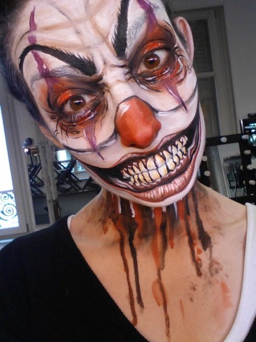 tutoriel pas à pas maquillage clown halloween