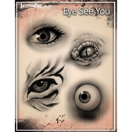 Pochoir Tattoo Pro - Stencils Eye See You Yeux